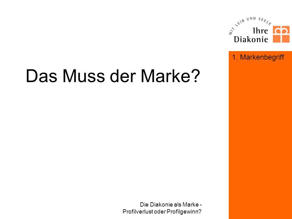 Die Diakonie als Marke - Profilverlust oder Profilgewinn? Das Muss der Marke? 1. Markenbegriff