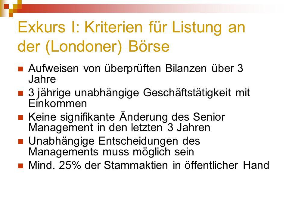Exkurs I: Kriterien für Listung an der (Londoner) Börse Aufweisen von überprüften Bilanzen über 3 Jahre 3 jährige unabhängige Geschäftstätigkeit mit E