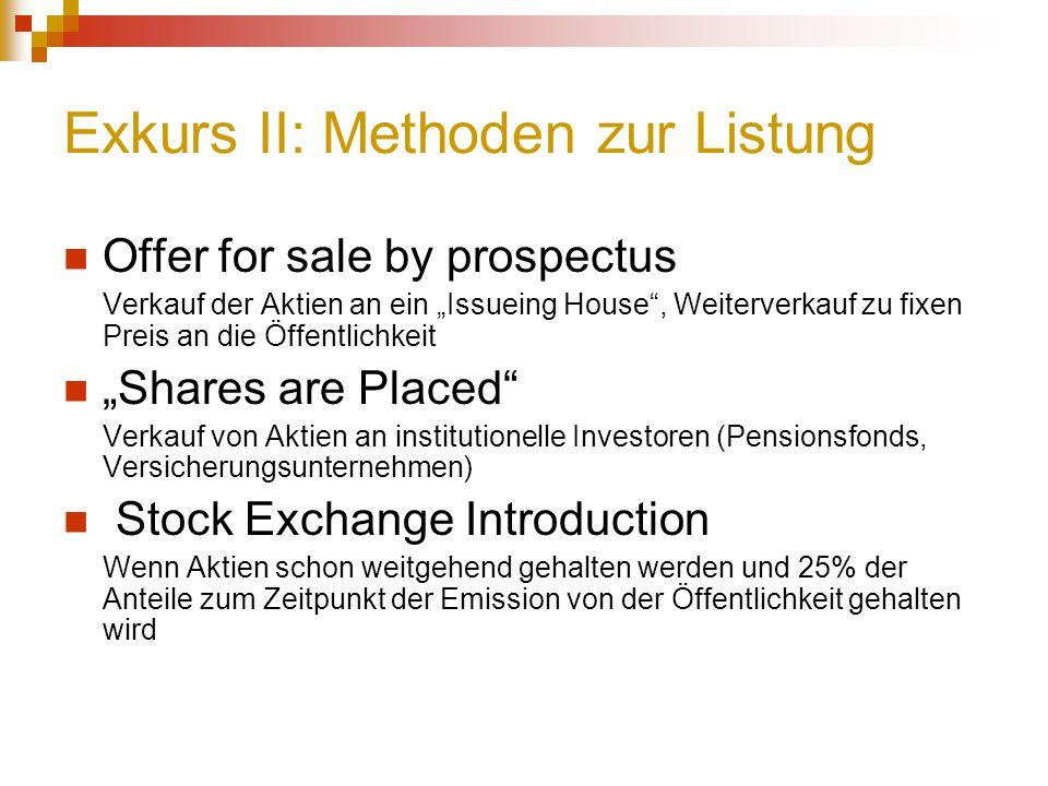 """Exkurs II: Methoden zur Listung Offer for sale by prospectus Verkauf der Aktien an ein """"Issueing House"""", Weiterverkauf zu fixen Preis an die Öffentlic"""