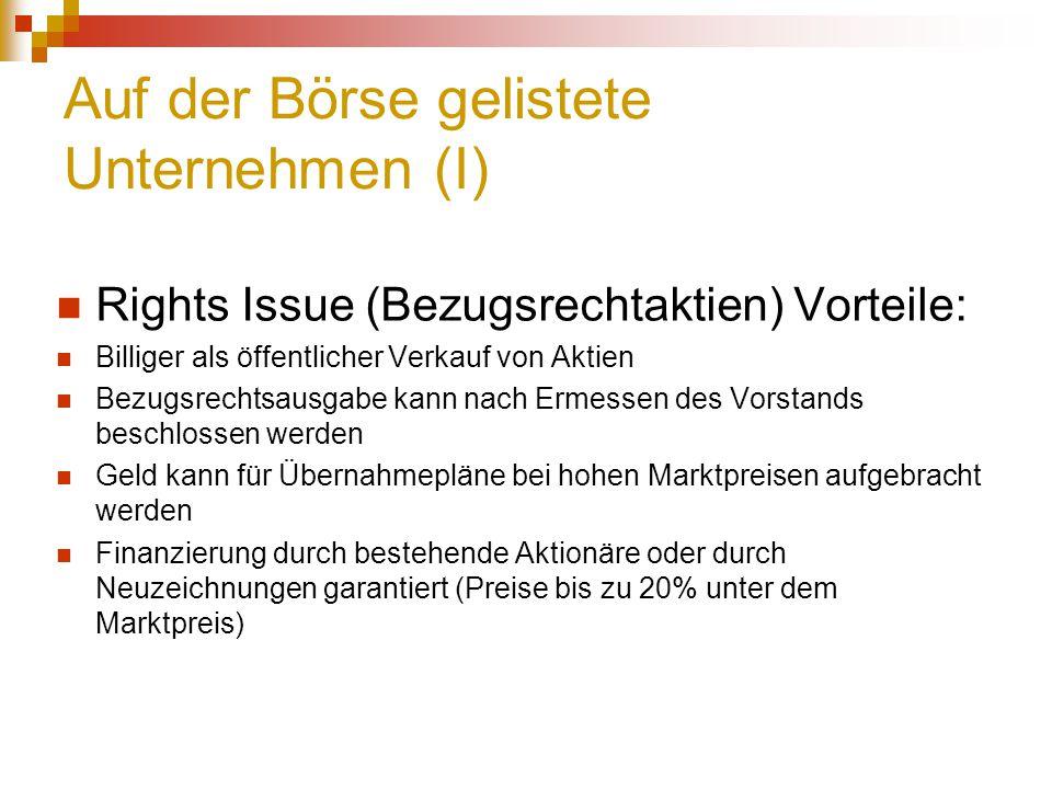 Auf der Börse gelistete Unternehmen (I) Rights Issue (Bezugsrechtaktien) Vorteile: Billiger als öffentlicher Verkauf von Aktien Bezugsrechtsausgabe ka