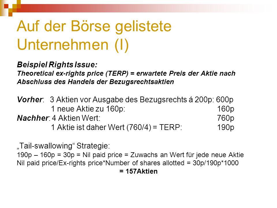 Auf der Börse gelistete Unternehmen (I) Beispiel Rights Issue: Theoretical ex-rights price (TERP) = erwartete Preis der Aktie nach Abschluss des Hande