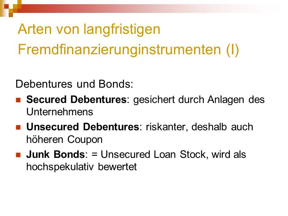 Arten von langfristigen Fremdfinanzierunginstrumenten (I) Debentures und Bonds: Secured Debentures: gesichert durch Anlagen des Unternehmens Unsecured