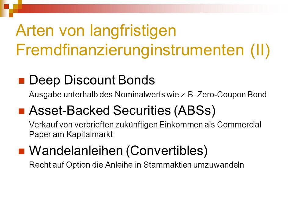 Arten von langfristigen Fremdfinanzierunginstrumenten (II) Deep Discount Bonds Ausgabe unterhalb des Nominalwerts wie z.B. Zero-Coupon Bond Asset-Back