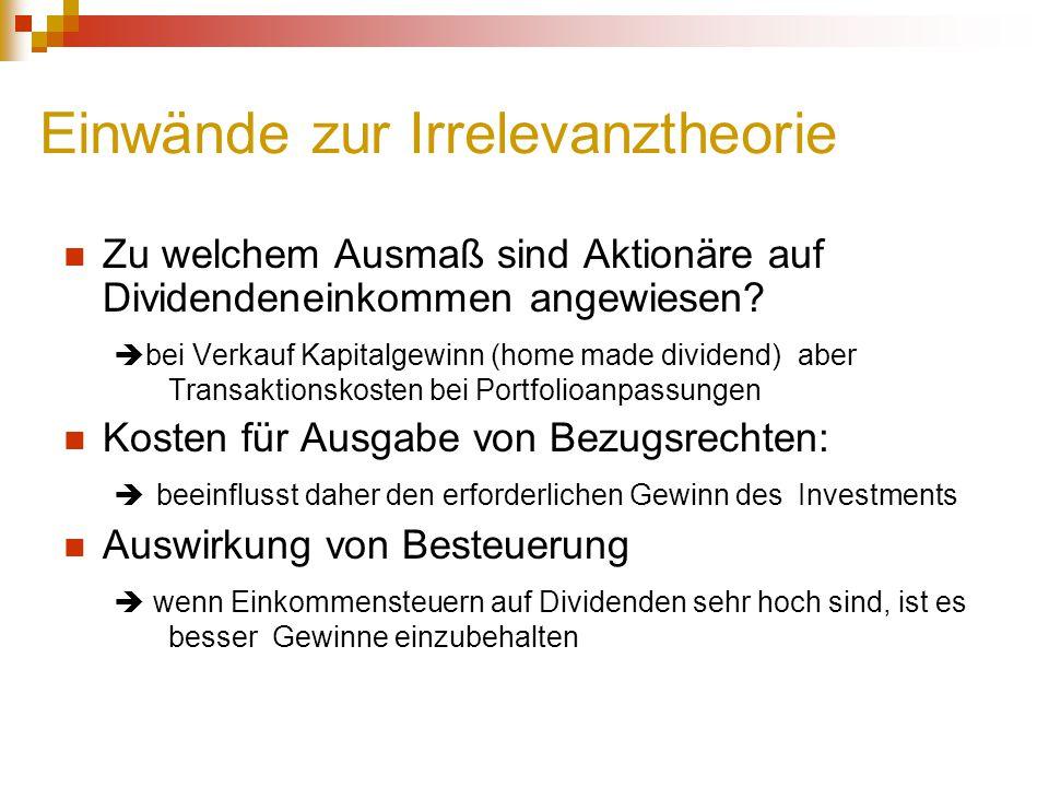 Einwände zur Irrelevanztheorie Zu welchem Ausmaß sind Aktionäre auf Dividendeneinkommen angewiesen?  bei Verkauf Kapitalgewinn (home made dividend) a