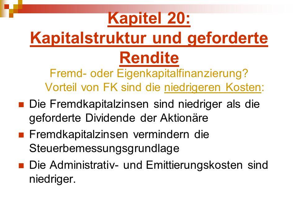 Kapitel 20: Kapitalstruktur und geforderte Rendite Fremd- oder Eigenkapitalfinanzierung? Vorteil von FK sind die niedrigeren Kosten: Die Fremdkapitalz