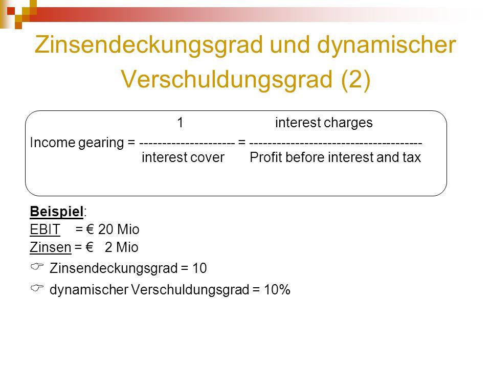 Zinsendeckungsgrad und dynamischer Verschuldungsgrad (2) 1 interest charges Income gearing = --------------------- = ---------------------------------