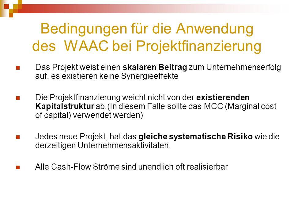 Bedingungen für die Anwendung des WAAC bei Projektfinanzierung Das Projekt weist einen skalaren Beitrag zum Unternehmenserfolg auf, es existieren kein
