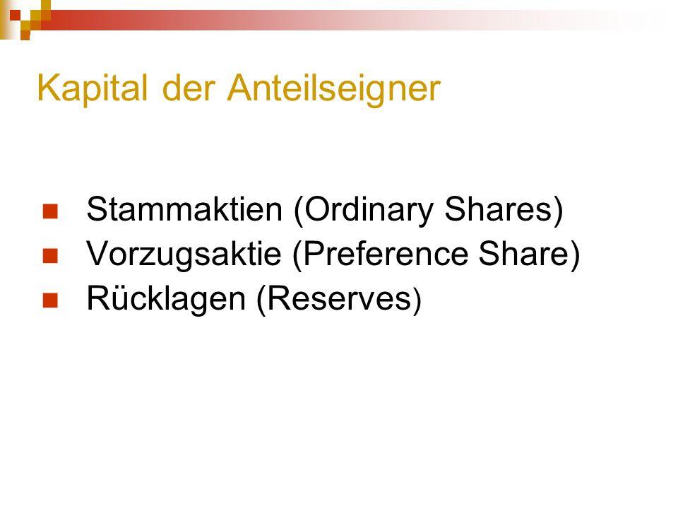 Kapital der Anteilseigner Stammaktien (Ordinary Shares) Vorzugsaktie (Preference Share) Rücklagen (Reserves )