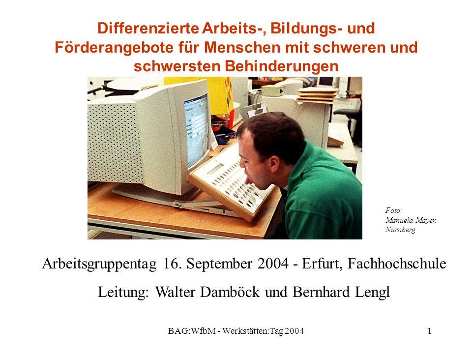 BAG:WfbM - Werkstätten:Tag 20041 Differenzierte Arbeits-, Bildungs- und Förderangebote für Menschen mit schweren und schwersten Behinderungen Arbeitsgruppentag 16.