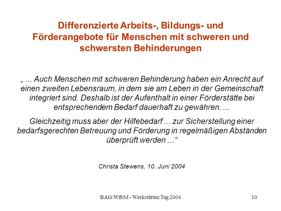"""BAG:WfbM - Werkstätten:Tag 200410 Differenzierte Arbeits-, Bildungs- und Förderangebote für Menschen mit schweren und schwersten Behinderungen """"... Au"""