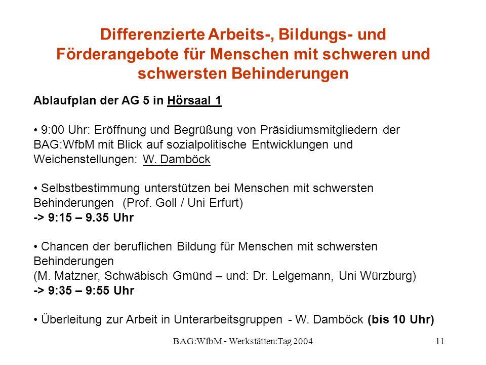 BAG:WfbM - Werkstätten:Tag 200411 Differenzierte Arbeits-, Bildungs- und Förderangebote für Menschen mit schweren und schwersten Behinderungen Ablaufp