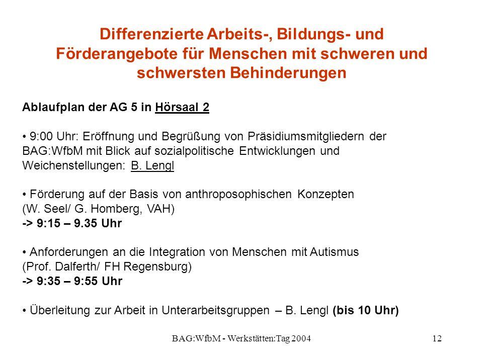 BAG:WfbM - Werkstätten:Tag 200412 Differenzierte Arbeits-, Bildungs- und Förderangebote für Menschen mit schweren und schwersten Behinderungen Ablaufp