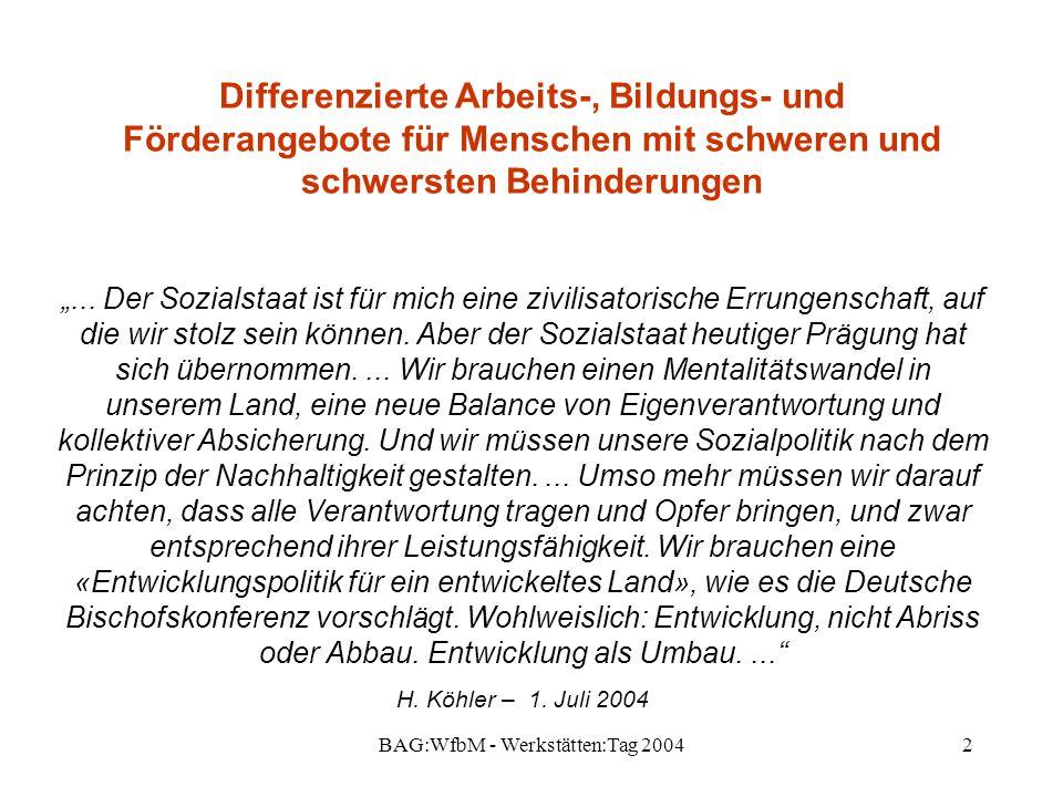 """BAG:WfbM - Werkstätten:Tag 20042 Differenzierte Arbeits-, Bildungs- und Förderangebote für Menschen mit schweren und schwersten Behinderungen """"... Der"""
