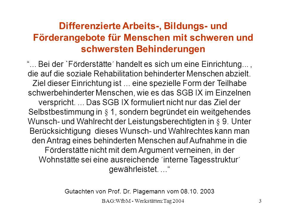 BAG:WfbM - Werkstätten:Tag 200414 Differenzierte Arbeits-, Bildungs- und Förderangebote für Menschen mit schweren und schwersten Behinderungen Unterarbeitsgruppen: A: Sozialpolitische Weichenstellung für Tagesförderbereiche (W.