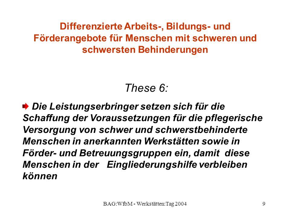 BAG:WfbM - Werkstätten:Tag 20049 Differenzierte Arbeits-, Bildungs- und Förderangebote für Menschen mit schweren und schwersten Behinderungen These 6: