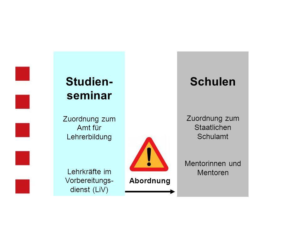 Schulen Zuordnung zum Staatlichen Schulamt Mentorinnen und Mentoren Studien- seminar Zuordnung zum Amt für Lehrerbildung Lehrkräfte im Vorbereitungs-