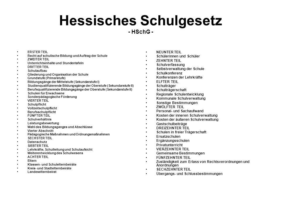 Hessisches Schulgesetz - HSchG - ERSTER TEIL Recht auf schulische Bildung und Auftrag der Schule ZWEITER TEIL Unterrichtsinhalte und Stundentafeln DRI