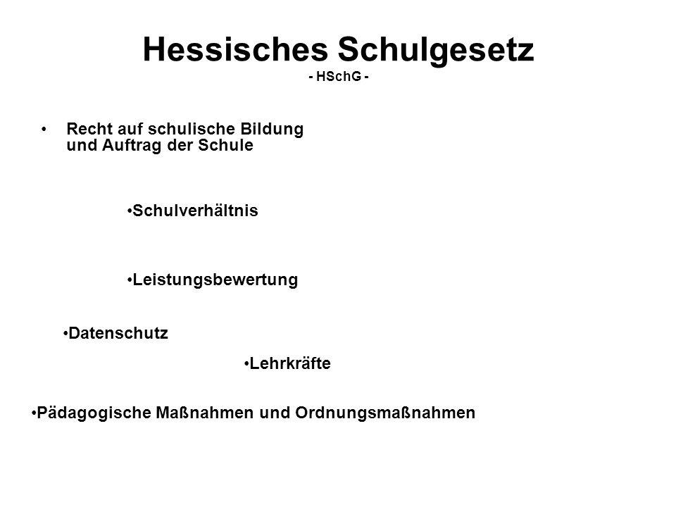 Hessisches Schulgesetz - HSchG - Recht auf schulische Bildung und Auftrag der Schule Schulverhältnis Leistungsbewertung Datenschutz Pädagogische Maßna