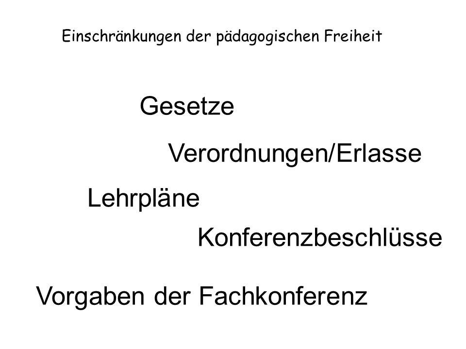 Gesetze Einschränkungen der pädagogischen Freiheit Verordnungen/Erlasse Lehrpläne Konferenzbeschlüsse Vorgaben der Fachkonferenz