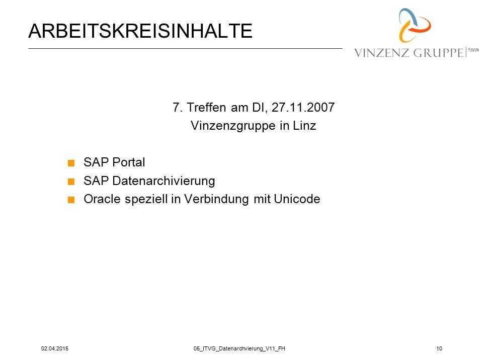 02.04.201505_ITVG_Datenarchvierung_V11_FH10 ARBEITSKREISINHALTE 7. Treffen am DI, 27.11.2007 Vinzenzgruppe in Linz  SAP Portal  SAP Datenarchivierun