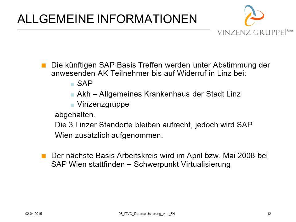 02.04.201505_ITVG_Datenarchvierung_V11_FH12 ALLGEMEINE INFORMATIONEN  Die künftigen SAP Basis Treffen werden unter Abstimmung der anwesenden AK Teiln