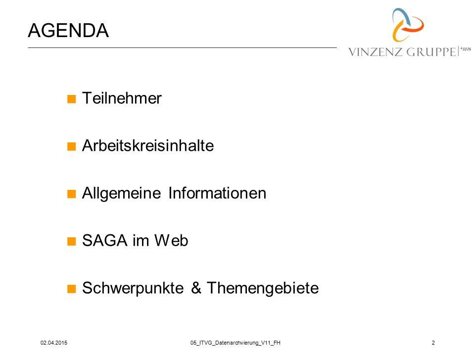 02.04.201505_ITVG_Datenarchvierung_V11_FH13 SCHWERPUNKTE & THEMEN  Adaptive Computing, Virtualisierung (SAP Note 674851)  Unicode  Hochverfügbarkeit  Performance Monitoring, Optimierung – speziell im JAVA environment  Erfassung des SAP environments der SAGA Basisgruppenteilnehmer
