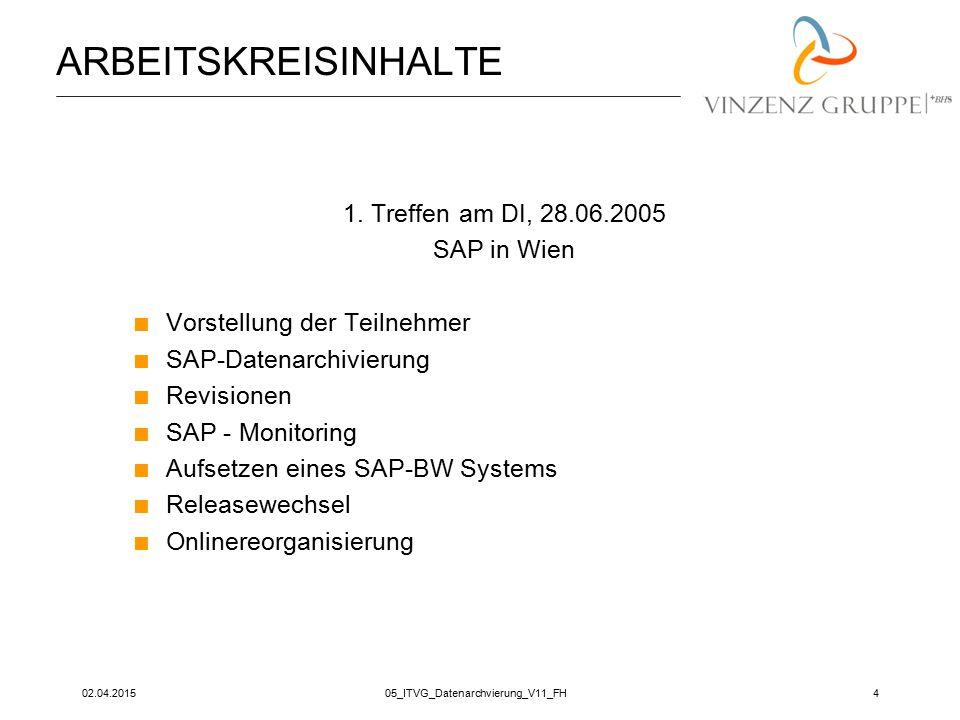 02.04.201505_ITVG_Datenarchvierung_V11_FH4 ARBEITSKREISINHALTE 1. Treffen am DI, 28.06.2005 SAP in Wien  Vorstellung der Teilnehmer  SAP-Datenarchiv
