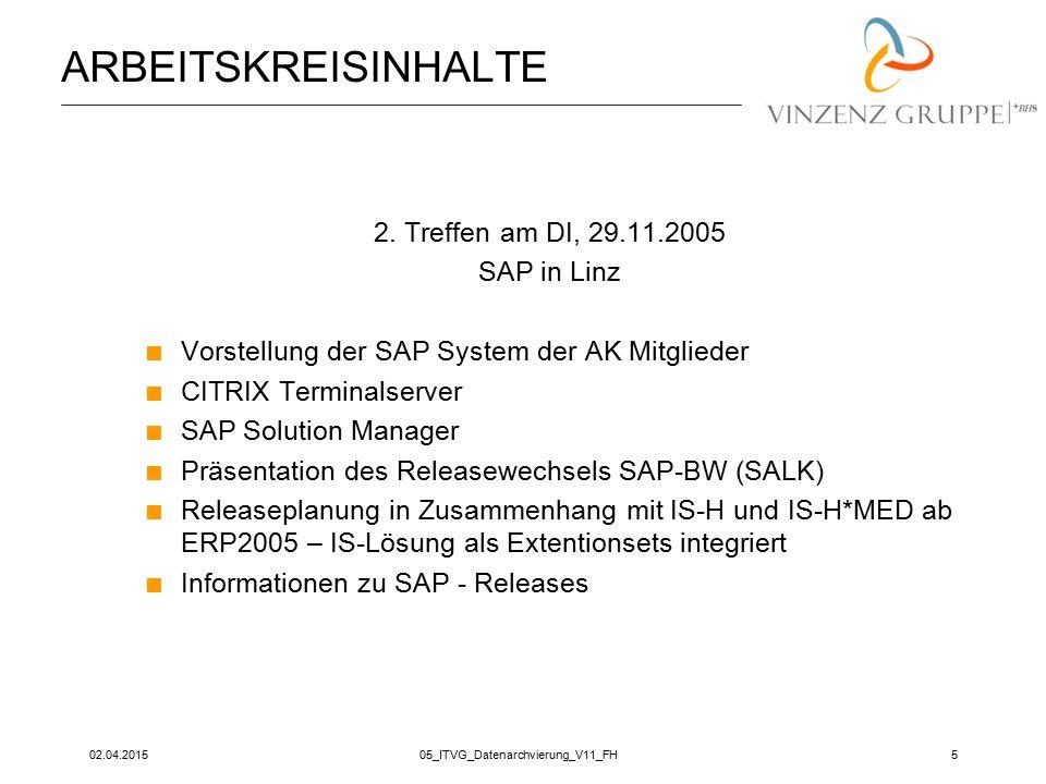 02.04.201505_ITVG_Datenarchvierung_V11_FH5 ARBEITSKREISINHALTE 2. Treffen am DI, 29.11.2005 SAP in Linz  Vorstellung der SAP System der AK Mitglieder