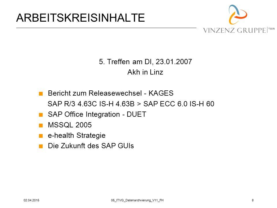 02.04.201505_ITVG_Datenarchvierung_V11_FH8 ARBEITSKREISINHALTE 5. Treffen am DI, 23.01.2007 Akh in Linz  Bericht zum Releasewechsel - KAGES SAP R/3 4