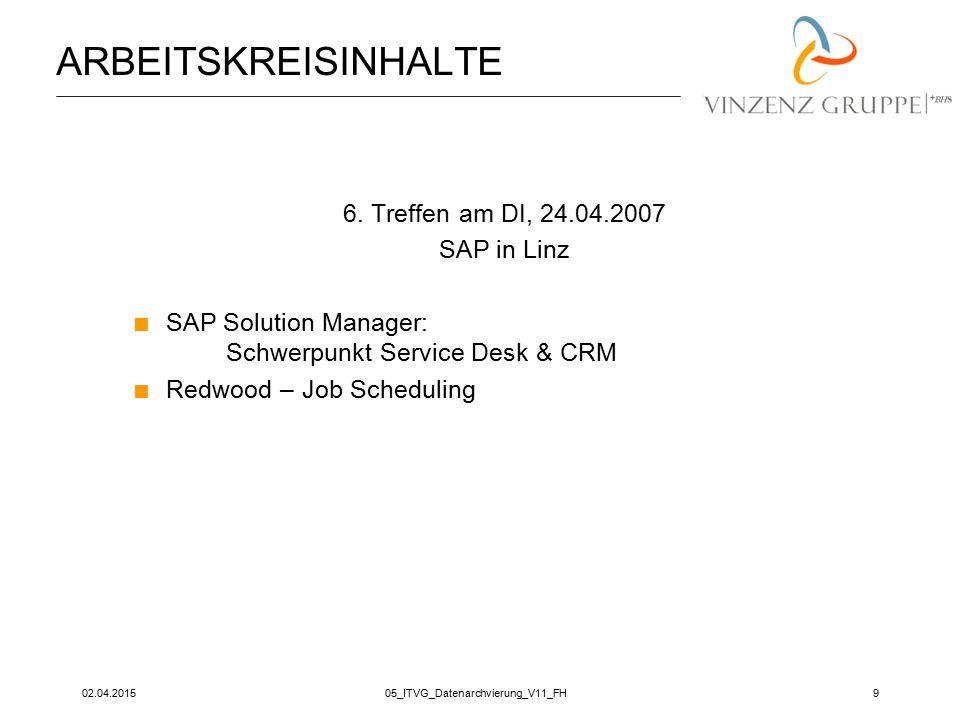 02.04.201505_ITVG_Datenarchvierung_V11_FH9 ARBEITSKREISINHALTE 6. Treffen am DI, 24.04.2007 SAP in Linz  SAP Solution Manager: Schwerpunkt Service De