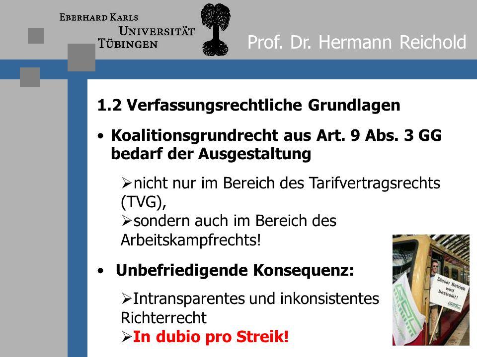 Prof. Dr. Hermann Reichold 1.1 Verfassungsrechtliche Grundlagen Problem: Keine gesetzliche Regelung des Arbeitskampfrechts Verstoß gegen Rechtsstaatsp