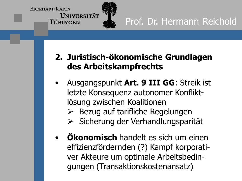 Prof. Dr. Hermann Reichold 1.2 Verfassungsrechtliche Grundlagen Koalitionsgrundrecht aus Art. 9 Abs. 3 GG bedarf der Ausgestaltung  nicht nur im Bere