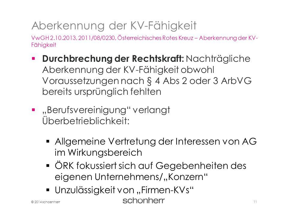 © 2014 schoenherr 11  Durchbrechung der Rechtskraft: Nachträgliche Aberkennung der KV-Fähigkeit obwohl Voraussetzungen nach § 4 Abs 2 oder 3 ArbVG be