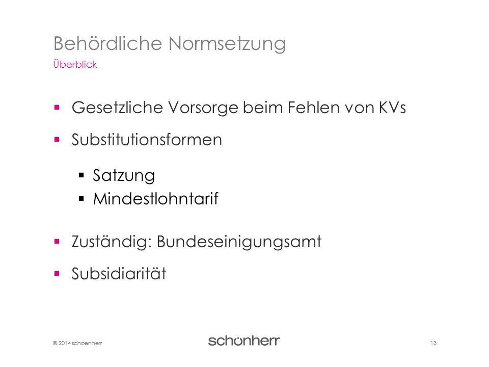 © 2014 schoenherr 13  Gesetzliche Vorsorge beim Fehlen von KVs  Substitutionsformen  Satzung  Mindestlohntarif  Zuständig: Bundeseinigungsamt  S