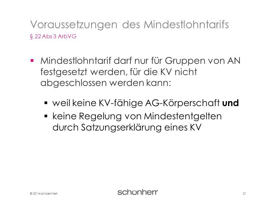 © 2014 schoenherr 21  Mindestlohntarif darf nur für Gruppen von AN festgesetzt werden, für die KV nicht abgeschlossen werden kann:  weil keine KV-fä