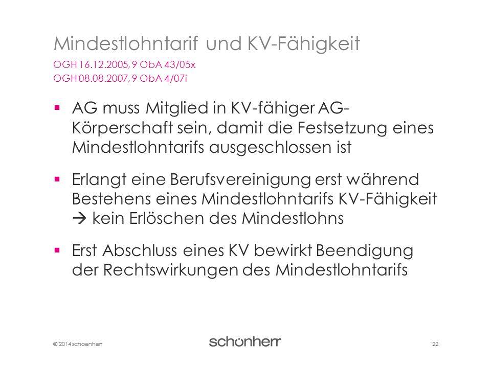 © 2014 schoenherr 22  AG muss Mitglied in KV-fähiger AG- Körperschaft sein, damit die Festsetzung eines Mindestlohntarifs ausgeschlossen ist  Erlang