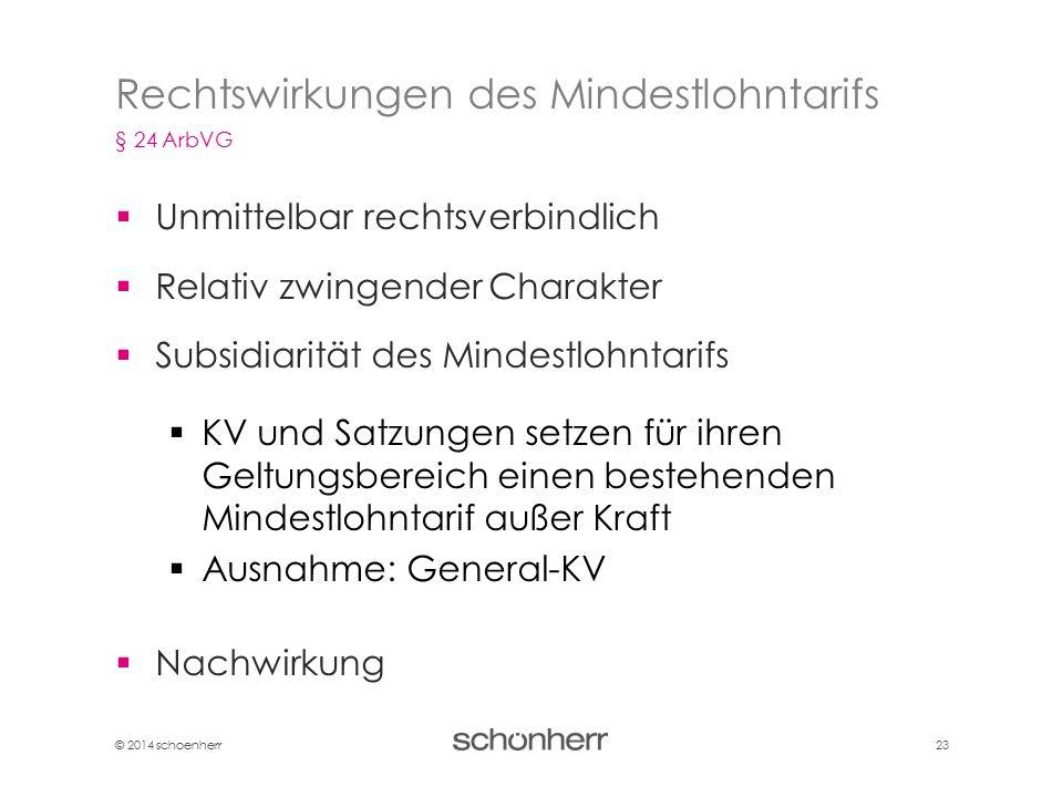 © 2014 schoenherr 23  Unmittelbar rechtsverbindlich  Relativ zwingender Charakter  Subsidiarität des Mindestlohntarifs  KV und Satzungen setzen fü