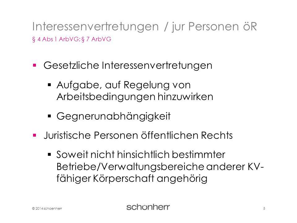 © 2014 schoenherr 5  Gesetzliche Interessenvertretungen  Aufgabe, auf Regelung von Arbeitsbedingungen hinzuwirken  Gegnerunabhängigkeit  Juristisc