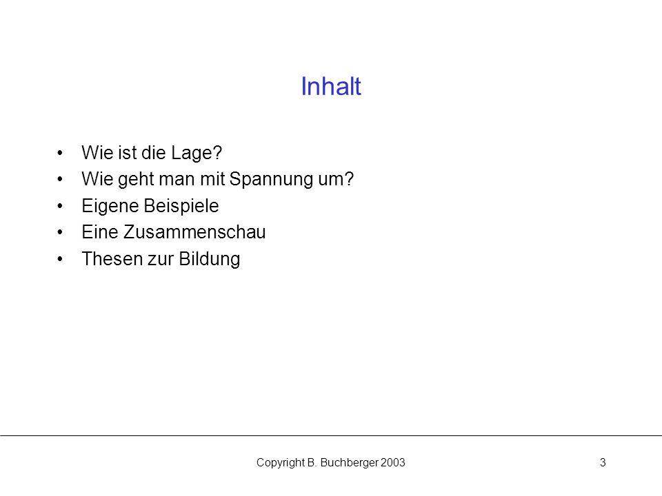 Copyright B.Buchberger 20033 Inhalt Wie ist die Lage.