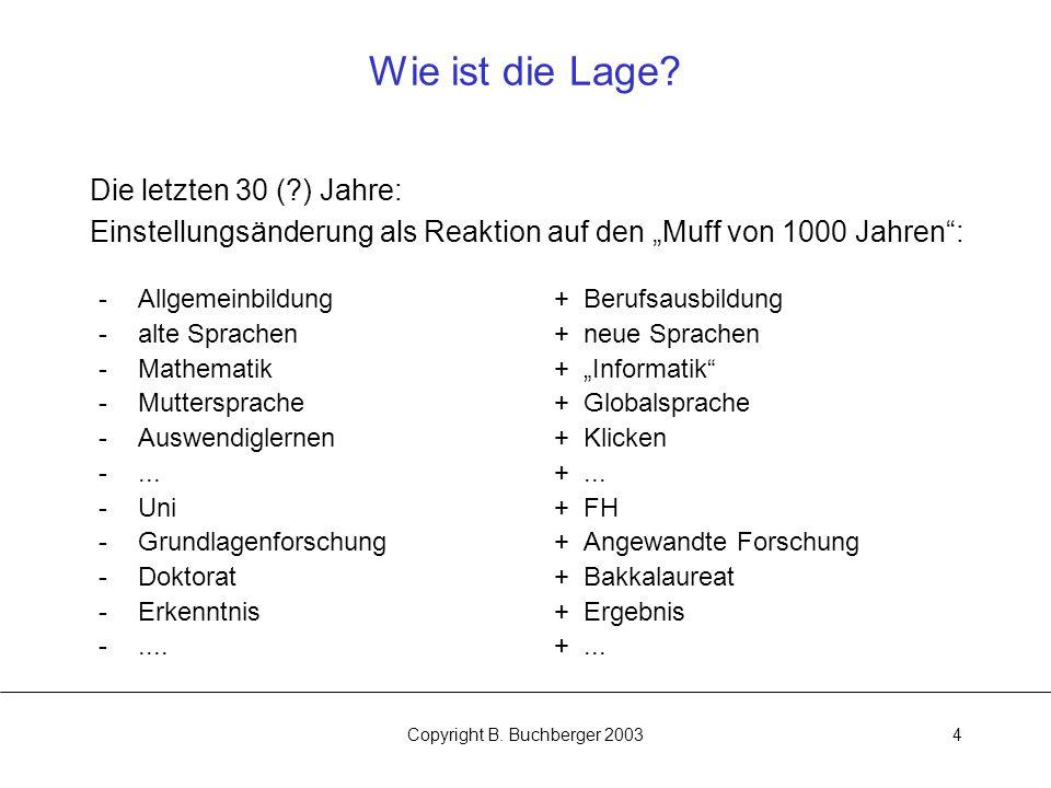 Copyright B.Buchberger 20034 Wie ist die Lage.
