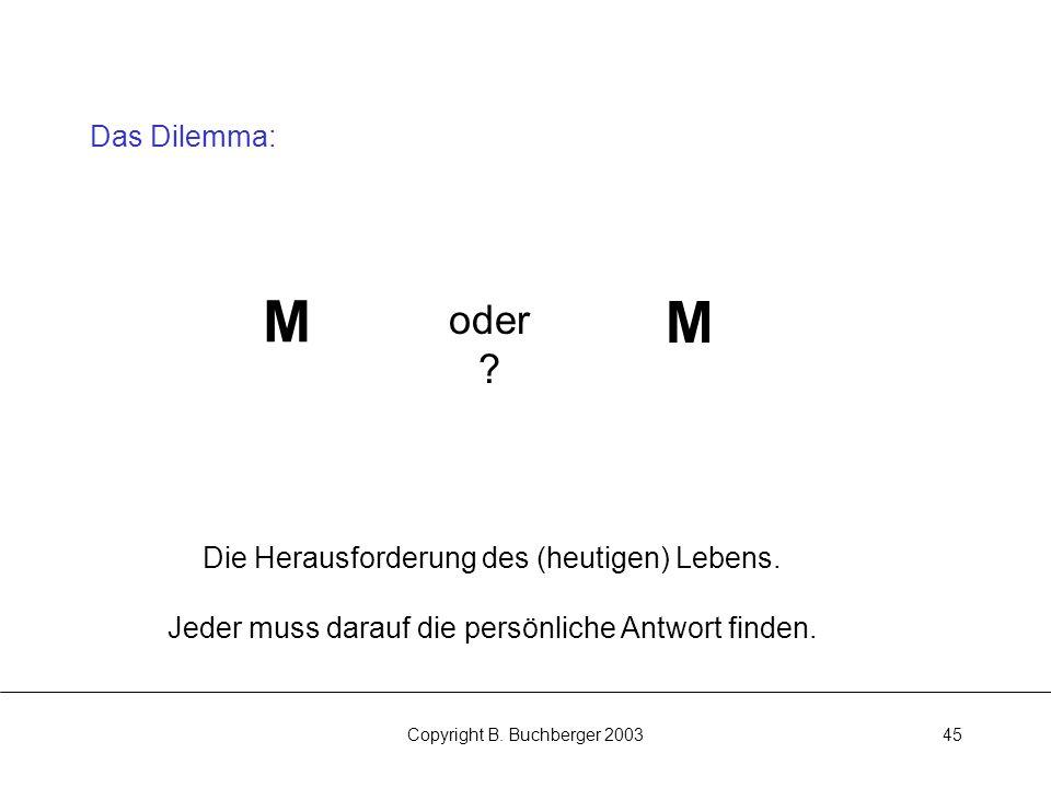 Copyright B.Buchberger 200345 Das Dilemma: M M oder .
