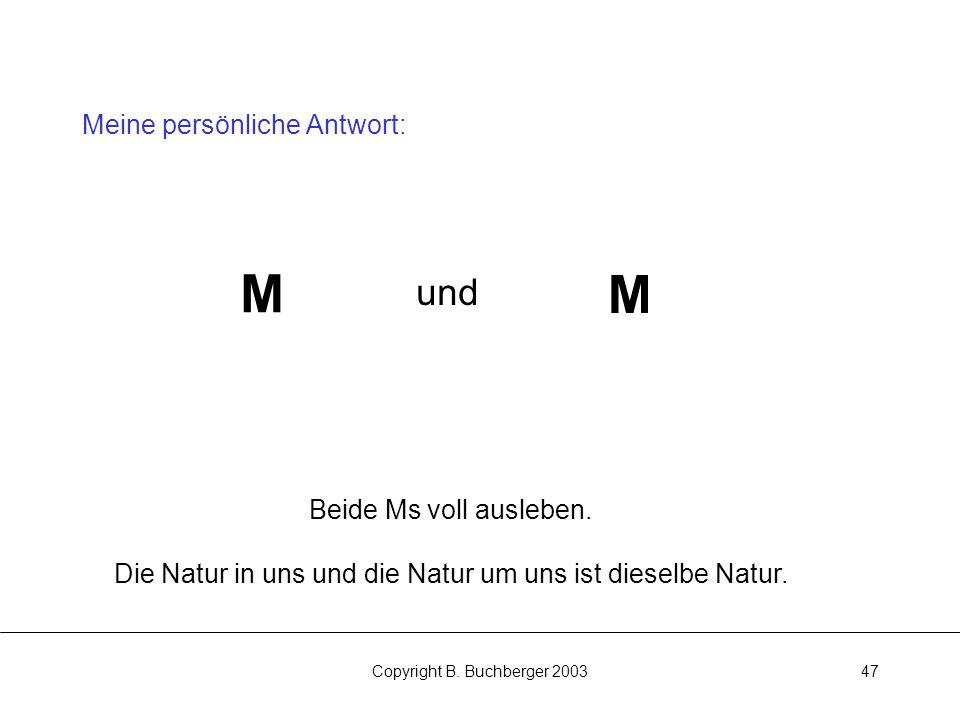 Copyright B.Buchberger 200347 Meine persönliche Antwort: M M und Beide Ms voll ausleben.