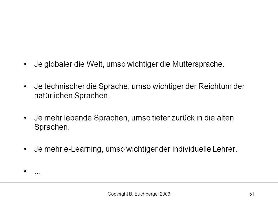 Copyright B.Buchberger 200351 Je globaler die Welt, umso wichtiger die Muttersprache.