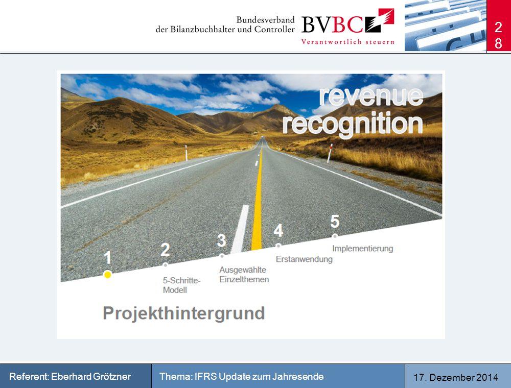 17. Dezember 2014 Thema: IFRS Update zum JahresendeReferent: Eberhard Grötzner 28