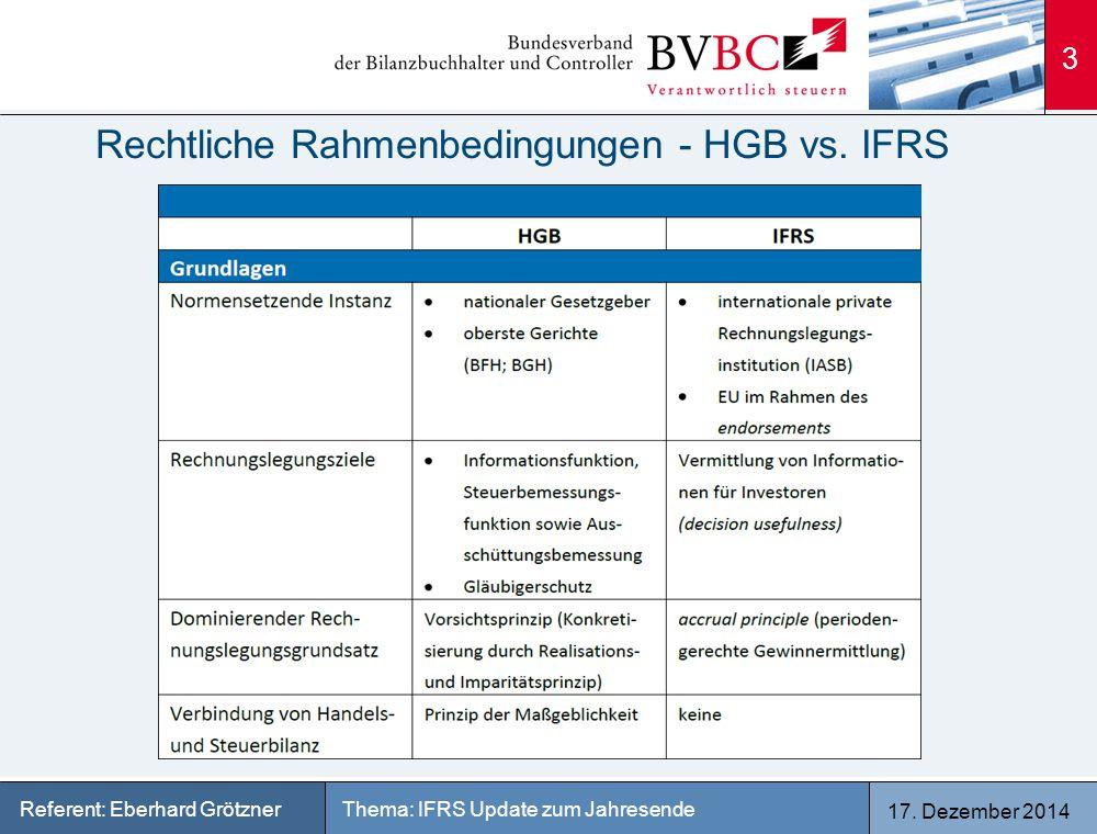 17. Dezember 2014 Thema: IFRS Update zum JahresendeReferent: Eberhard Grötzner Rechtliche Rahmenbedingungen - HGB vs. IFRS 3