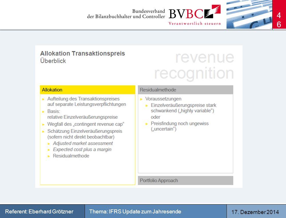 17. Dezember 2014 Thema: IFRS Update zum JahresendeReferent: Eberhard Grötzner 46
