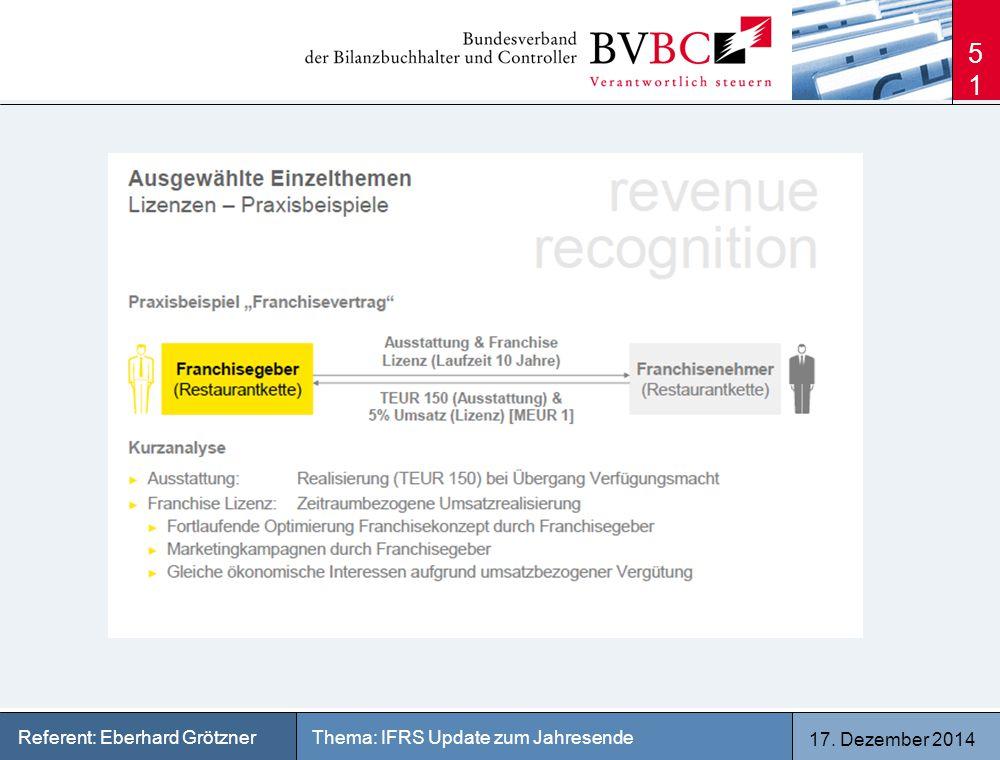 17. Dezember 2014 Thema: IFRS Update zum JahresendeReferent: Eberhard Grötzner 51