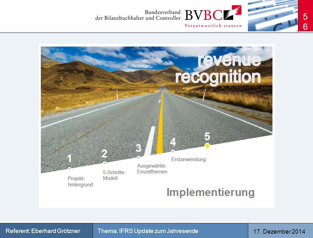 17. Dezember 2014 Thema: IFRS Update zum JahresendeReferent: Eberhard Grötzner 56