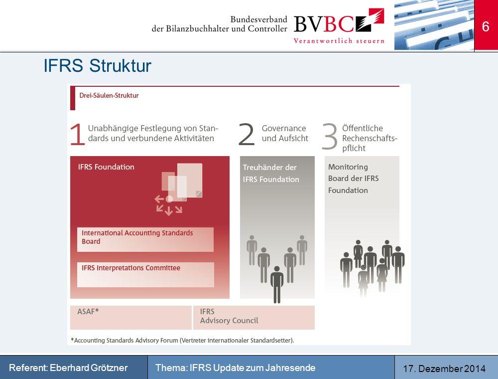 17. Dezember 2014 Thema: IFRS Update zum JahresendeReferent: Eberhard Grötzner IFRS Struktur 6