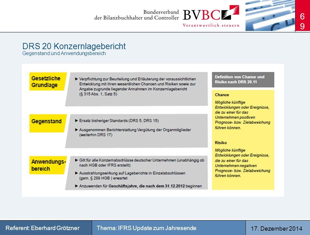 17. Dezember 2014 Thema: IFRS Update zum JahresendeReferent: Eberhard Grötzner DRS 20 Konzernlagebericht Gegenstand und Anwendungsbereich 69